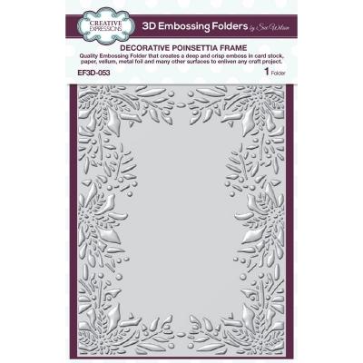 Decorative Poinsettia Frame, 3D Prägeschablone - Creative Expressions