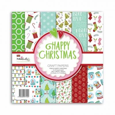 Happy Christmas 6x6 Paperpad - Polkadoodles