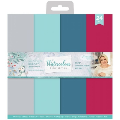 Watercolour Christmas Pearlescent Card Pad 12x12 - Crafter's Companion