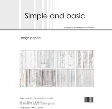 White Wood 12x12 Paper Pack - Simple & Basic