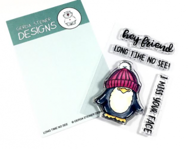 Long Time No See Penguin, Clearstamp - Gerda Steiner Designs