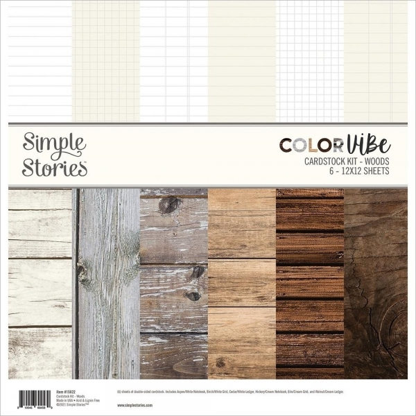 Color Vibe Woods 12x12 Cardstock Kit - Simple Stories